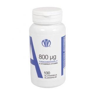 A-vitamiini 800 µg Turskanmaksaöljy 125 kaps